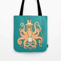 steam punk Tote Bags featuring Steam Punk Octopus by J&C Creations