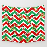 cartoons Wall Tapestries featuring Festive Christmas Cartoons on Chevron Pattern by Kirsten Star