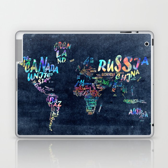 world map typography watercolor 4 Laptop & iPad Skin