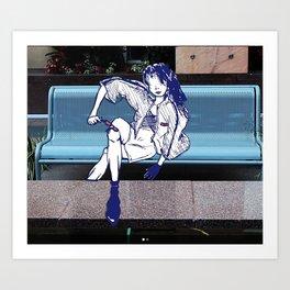 Bench Girl Art Print