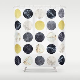 Marble and gold circles Shower Curtain