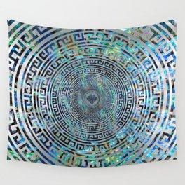 Circular Greek Meander Pattern - Greek Key Ornament Wall Tapestry