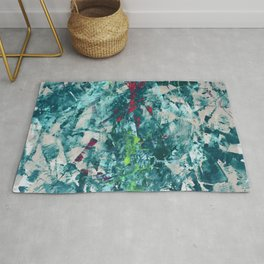 Collapsing Star: An elegant abstract painting in teal, cherry, and neon yellow by Alyssa Hamilton Art Rug