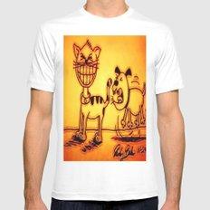 Cat & Dog White MEDIUM Mens Fitted Tee