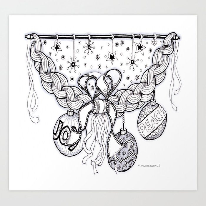 Christmas Zentangle Swag in Black and White for Adult Colorists Art ...