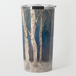 Birch Grove At Midnight Travel Mug