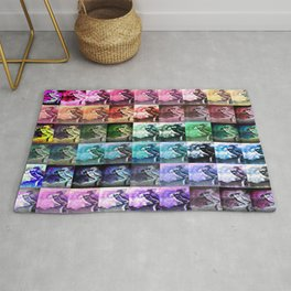 The Dancer Colorful Rainbow Collage Rug
