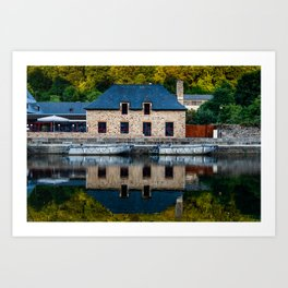 The harbour of Dinan in Brittany Art Print