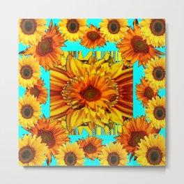 TURQUOISE ART DECO-BROWN YELLOW SUNFLOWERS Metal Print