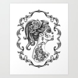 Sugar Skull Girl Cameo Art Print