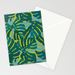Monstera Leaves in Teal Stationery Cards