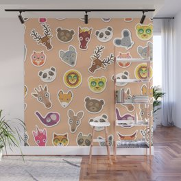 Set of funny animals muzzle seamless pattern. pink peach background. Vector Wall Mural
