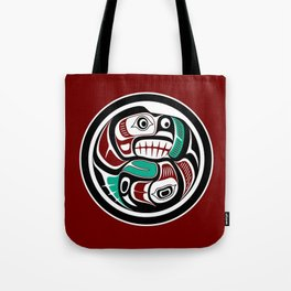 Northwest Pacific coast Otter chasing Salmon Tote Bag