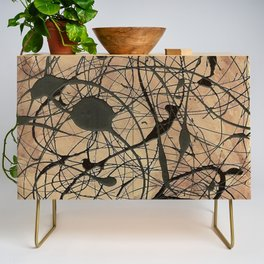 Pollock Inspired Abstract Black On Beige Credenza
