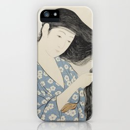 Hashiguchi Goyo: Woman Combing Her Hair Japanese Woodblock Print Blue Floral Kimono Black Hair iPhone Case
