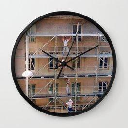 Men On Scaffolding Wall Clock
