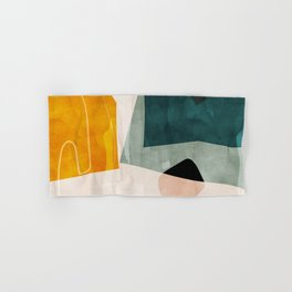 mid century shapes abstract painting 3 Hand & Bath Towel