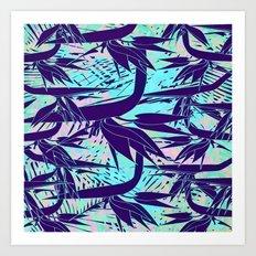 purple birds of paradise Art Print