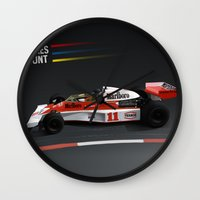 f1 Wall Clocks featuring James Hunt McLaren F1  | Car | Automotive | Formula One by Automotive Art