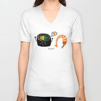 sushi V-neck T-shirts featuring sushi by Sucoco