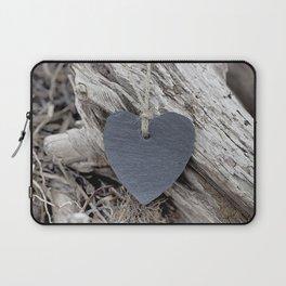 Beach Love Slate Heart on sea washed driftwood Laptop Sleeve