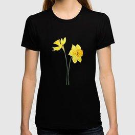 two botanical yellow daffodils watercolor T-shirt