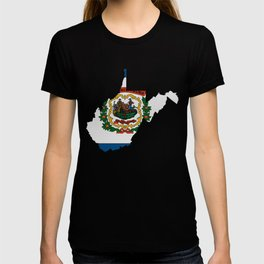 West Virginia Map with State Flag T-shirt