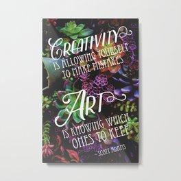 Creativity vs. Art Quote from Scott Adams Metal Print