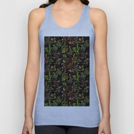 Vintage & Shabby Chic - vintage botanical wildflowers and berries on black Unisex Tanktop