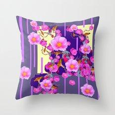 Modern Artwork Pink Wild Roses Purple Grey Design Throw Pillow