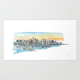 Cincinnati USA Skyline Impressionistic View Art Print