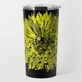Stamped Wildflower in Yellow and Black Travel Mug
