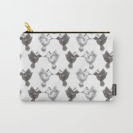 black and white lovebird pattern Carry-All Pouch