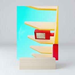 Architectural photography street lamp red+yellow / aqua sky Mini Art Print