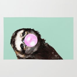 Bubble Gum Sneaky Sloth in Green Rug