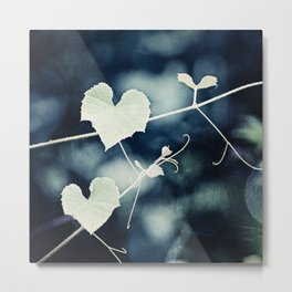 Heart Love Nature Photography, Hearts Botanical Print, Navy Blue Green Photograph, Bedroom Photo Metal Print