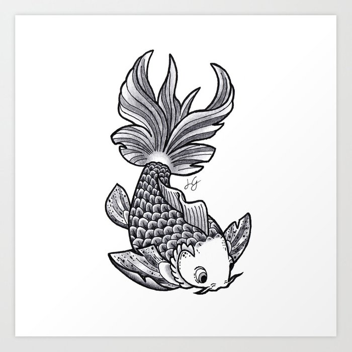 Fish handmade Drawing, Made in pencil, charcoal and ink ...
