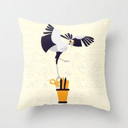 Secretary Bird - v3 Throw Pillow