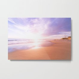 Sunset Beach Scene , Summertime, Pastel Sky Metal Print