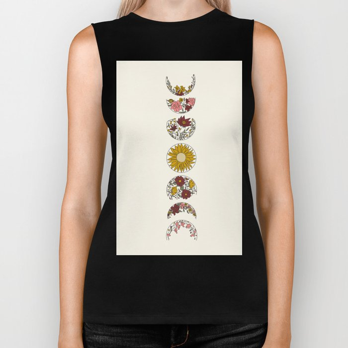 Floral Phases of the Moon Biker Tank