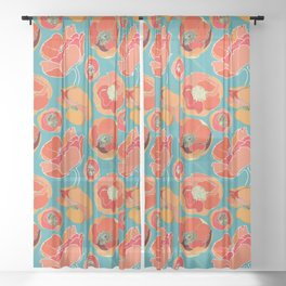Turquoise California Poppies Sheer Curtain
