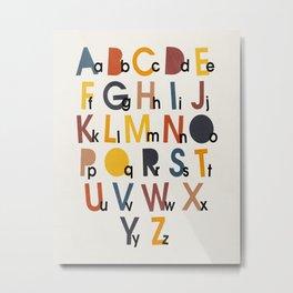 Alphabet, Mid century modern kids wall art, Nursery room Metal Print