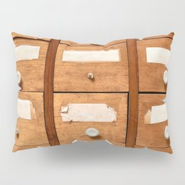 Backgrounds and textures: very old wooden cabinet with drawers Pillow Sham