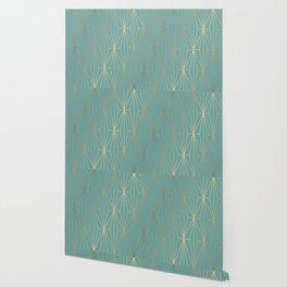ELEGANT BLUE GOLD PATTERN Wallpaper