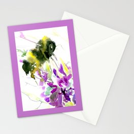 Bumblebee and Flowers floral bee design Stationery Cards