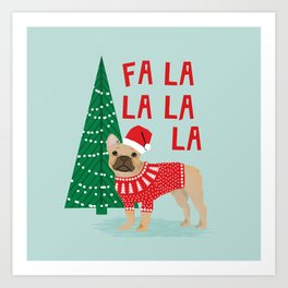 French Bulldog Christmas festive holiday sweater christmas card for dog lover french bulldog Art Print