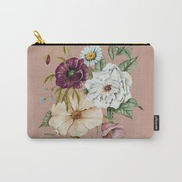 Colorful Wildflower Bouquet on Pink Carry-All Pouch