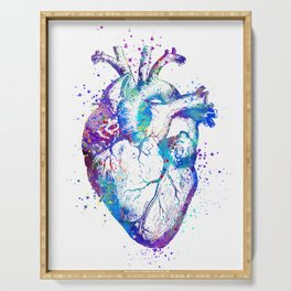 Heart Anatomy Art Gift Colorful Blue Purple Watercolor Art Anatomy Art Anatomical Heart Doctor Gift Serving Tray