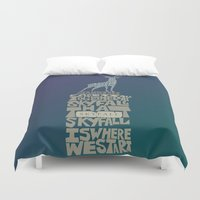 skyfall Duvet Covers featuring Skyfall - James Bond 007 by Rebecca McGoran