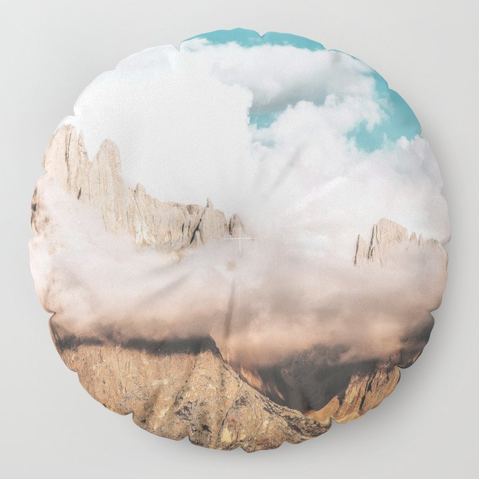 Mountains in Clouds.  Nature Landscape Photography Floor Pillow